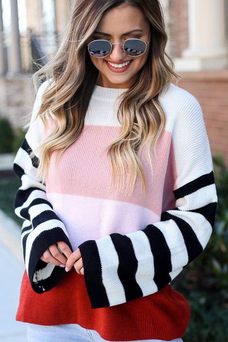 Oversized Color Block Knit Sweater Close Up