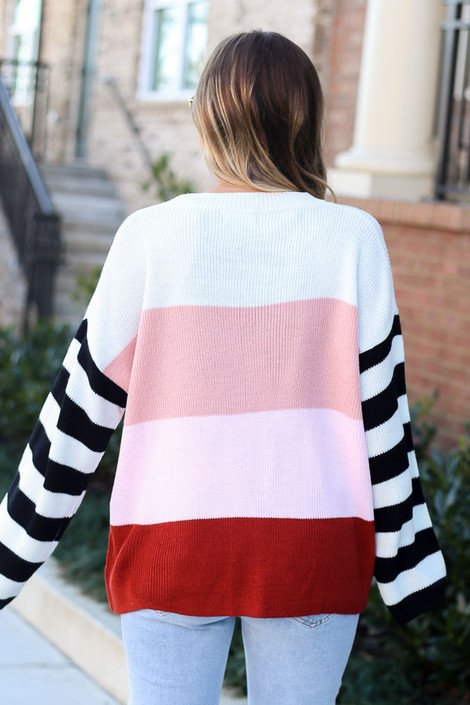 Oversized Color Block Knit Sweater Back View