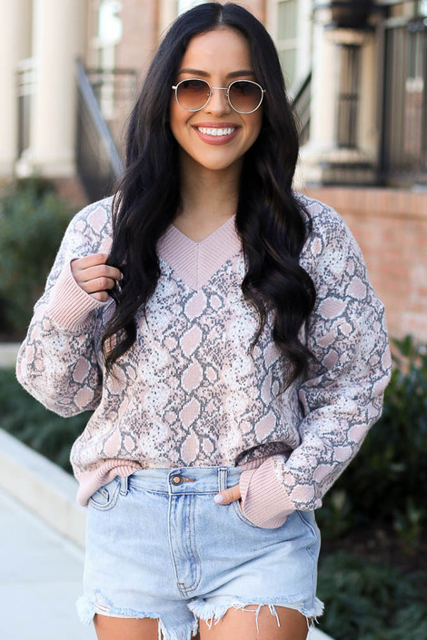Blush - Luxe Knit Snakeskin Sweater