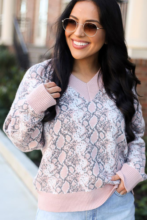 Blush - Model wearing the Luxe Knit Snakeskin Sweater in Blush
