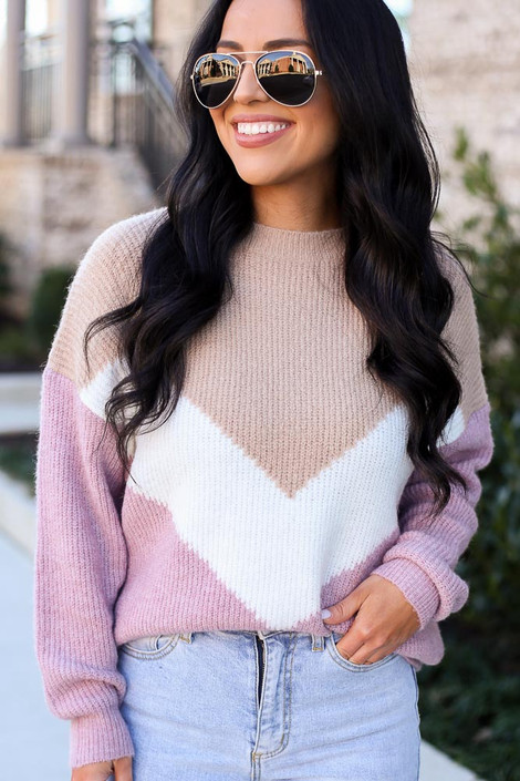 Taupe - Color Block Sweater