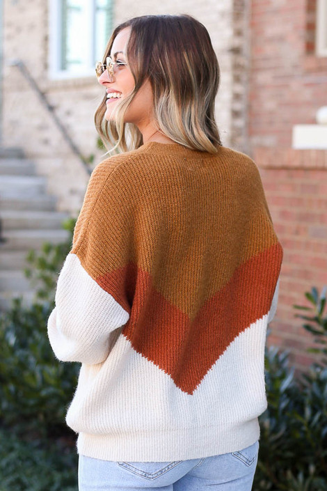 Model wearing the Color Block Sweater in Camel with high rise jeans from Dress Up Back View