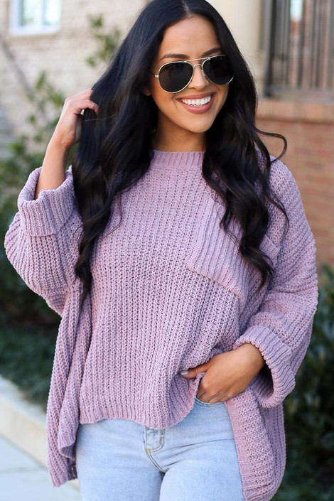 Lilac - Oversized Chenille Sweater