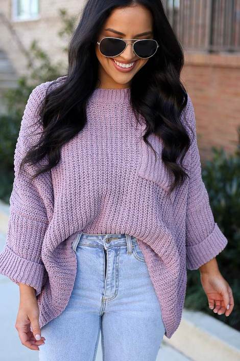Lilac - Oversized Chenille Sweater from Dress Up