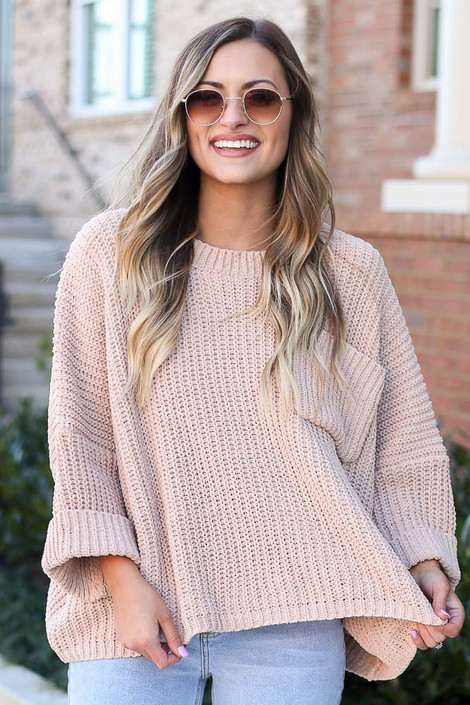 Taupe - Oversized Chenille Sweater Front View