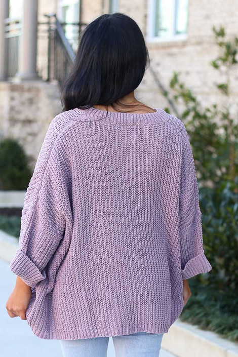 Oversized Chenille Sweater in Lilac Back View