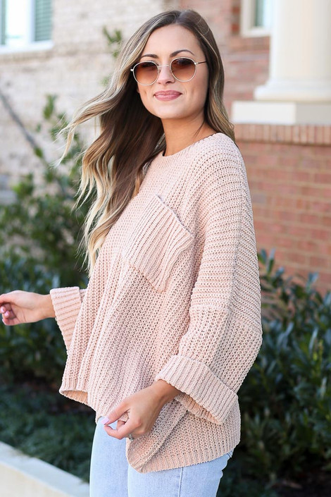 Oversized Chenille Sweater in Taupe Side View