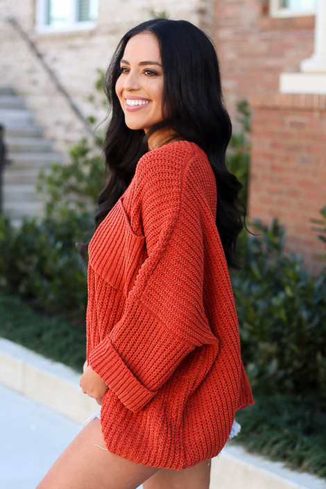 Oversized Chenille Sweater in Rust Side View