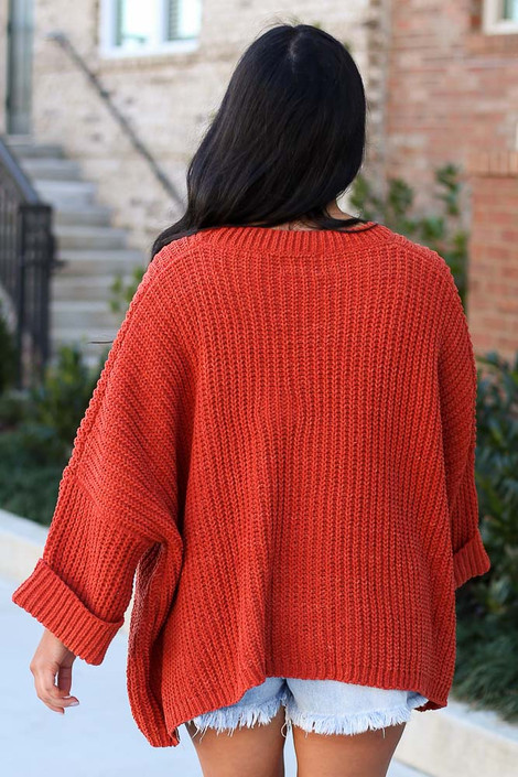 Oversized Chenille Sweater in Rust Back View