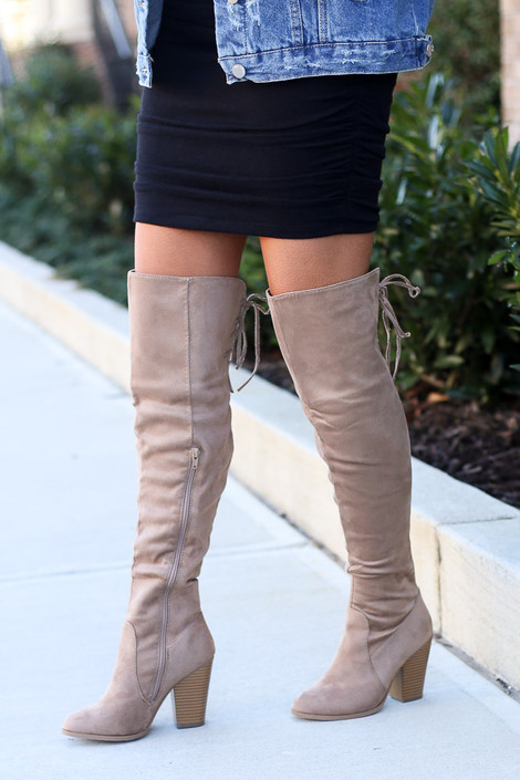 Taupe - Microsuede Over the Knee Boots