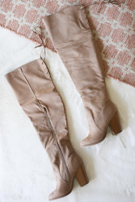 Flat Lay of the Microsuede Over the Knee Boots in Taupe