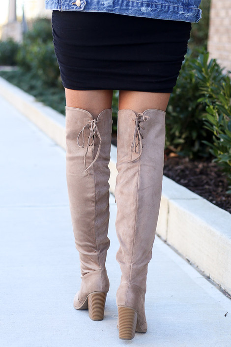 Microsuede Over the Knee Boots Back View