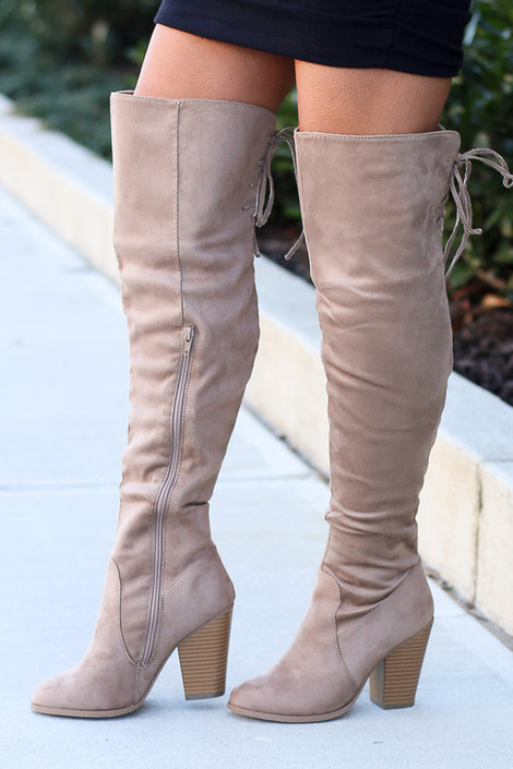 Microsuede Over the Knee Boots Side View