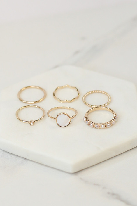 Gold - Assorted Dainty Ring Set