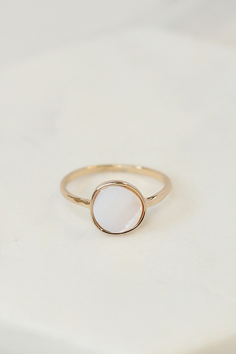 Close Up of the Gold stone ring in the Assorted Dainty Ring Set