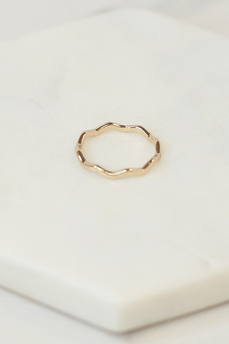 Close Up of the Gold scalloped ring in the Assorted Dainty Ring Set