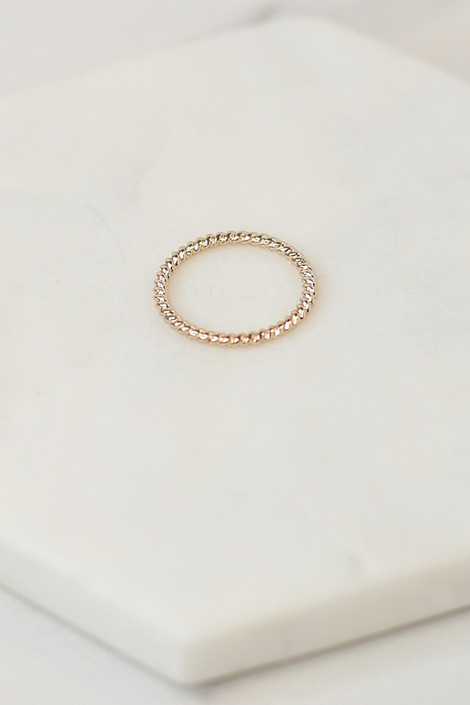Close Up of the Gold textured ring in the Assorted Dainty Ring Set