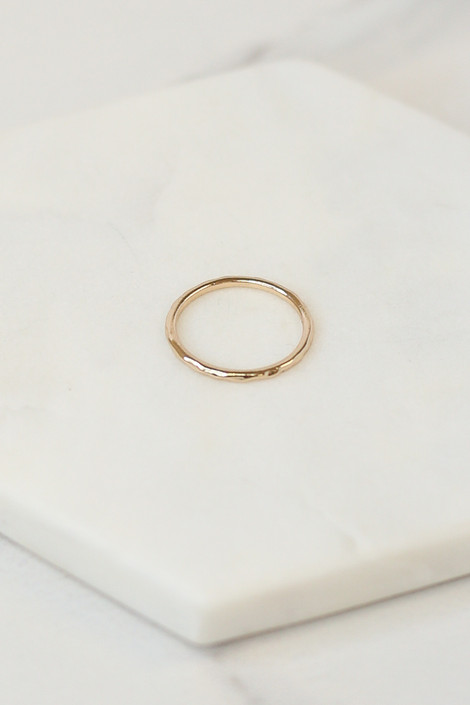 Close Up of the Gold simple ring in the Assorted Dainty Ring Set