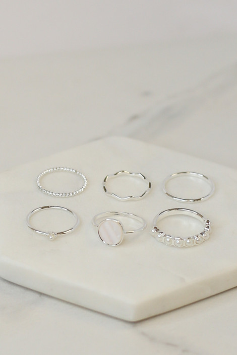 Silver - Flat Lay of the Assorted Dainty Ring Set
