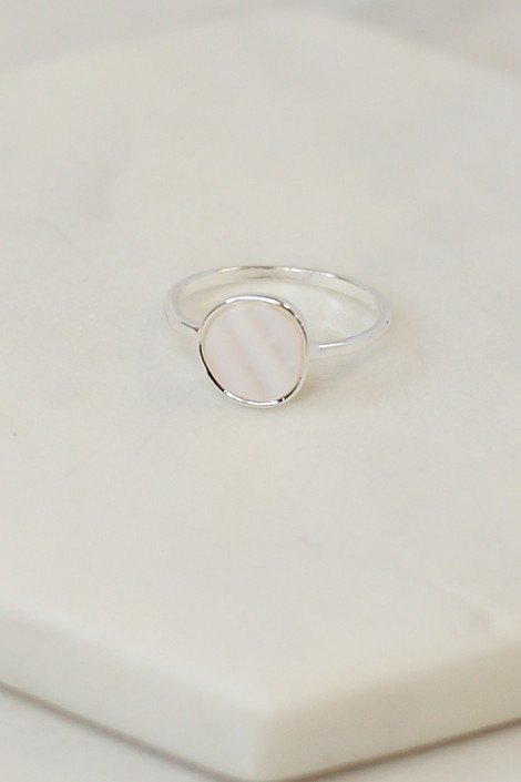 Close Up of the Silver stone ring in the Assorted Dainty Ring Set