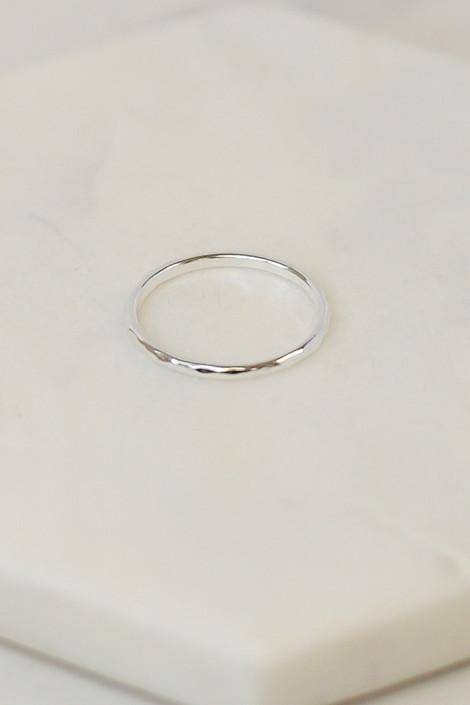 Close Up of the Silver simple ring in the Assorted Dainty Ring Set