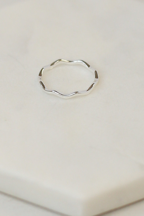 Close Up of the Silver scalloped ring in the Assorted Dainty Ring Set