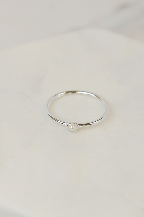 Close Up of the Silver single pearl ring in the Assorted Dainty Ring Set