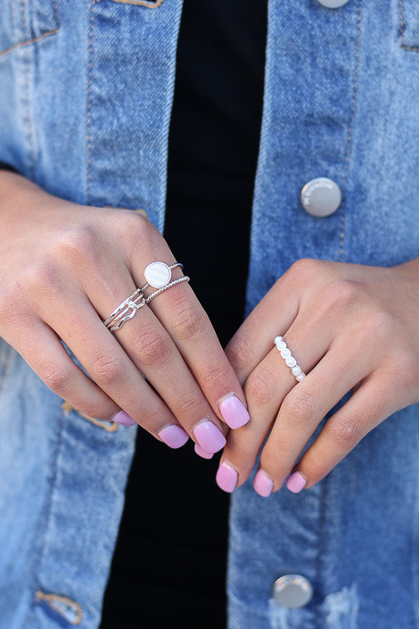 Silver - Model wearing the Assorted Dainty Ring Set