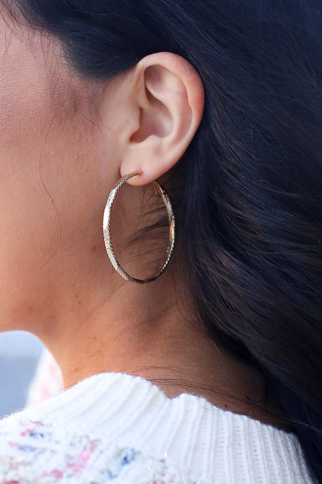 Gold - Hammered Hoop Earrings