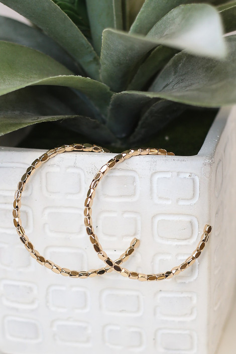 Gold - Beaded Open Hoop Earrings