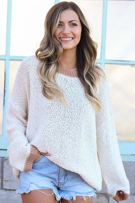Ivory - Fuzzy Popcorn Knit Contrast Top from Dress Up