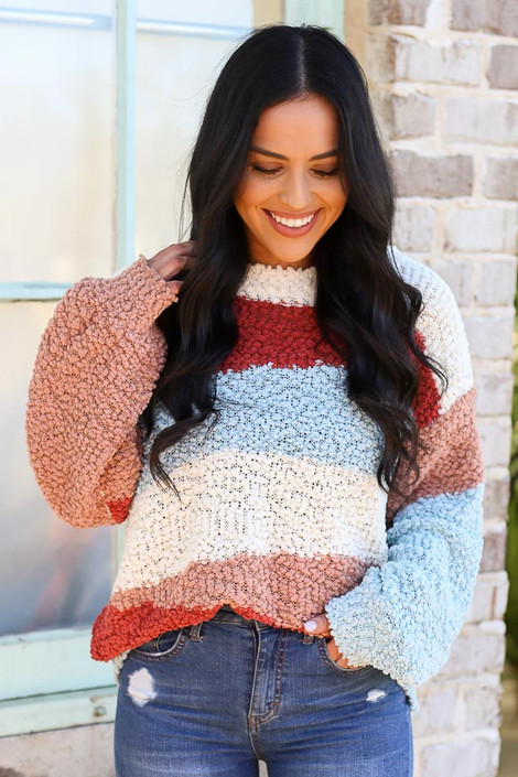 Blue - Striped Popcorn Knit Sweater from Dress Up
