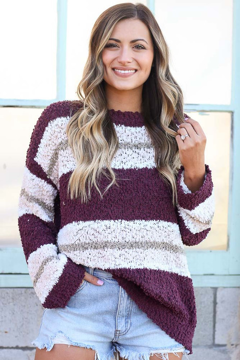 Burgundy - Striped Popcorn Knit Oversized Top