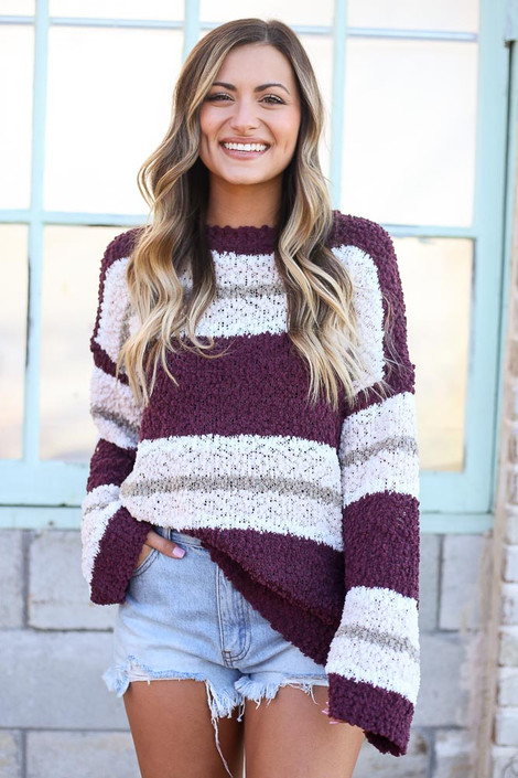 Burgundy - Striped Popcorn Knit Oversized Top from Dress Up