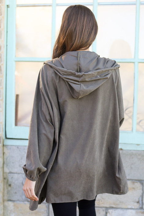 Model wearing the Hooded Utility Jacket in Olive with Black tank top and black skinny jeans from Dress Up Back View