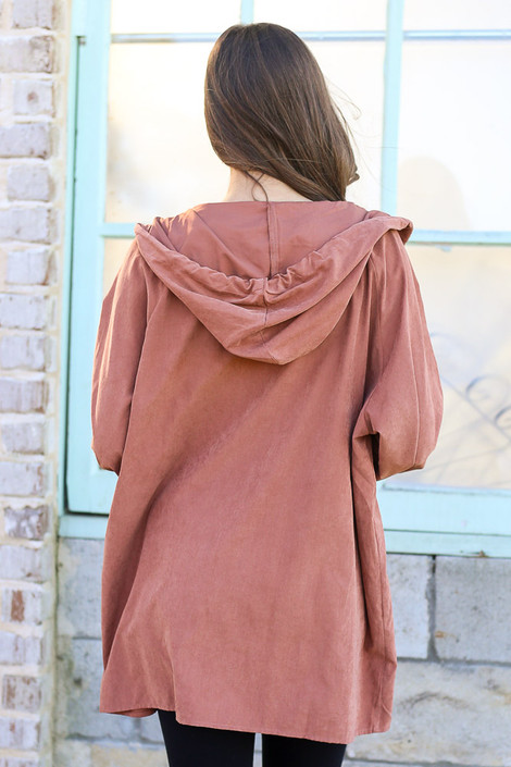 Model wearing the Hooded Utility Jacket in Mauve with Black tank top and black skinny jeans from Dress Up Back View