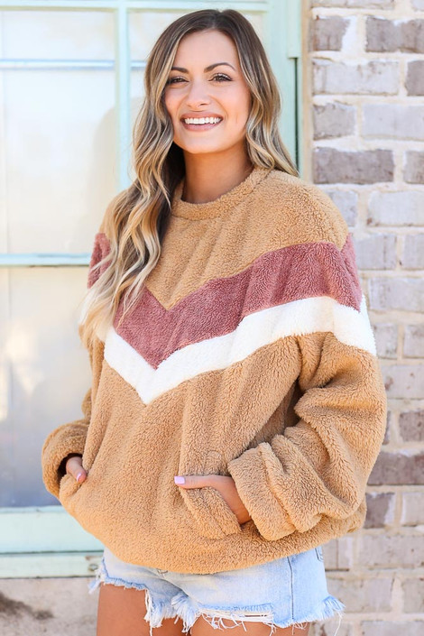 Chevron Fuzzy Knit Oversized Pullover Side View