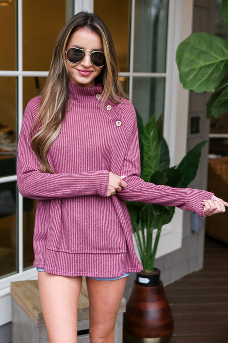 Model wearing the Ribbed Asymmetrical Button Up Pullover
