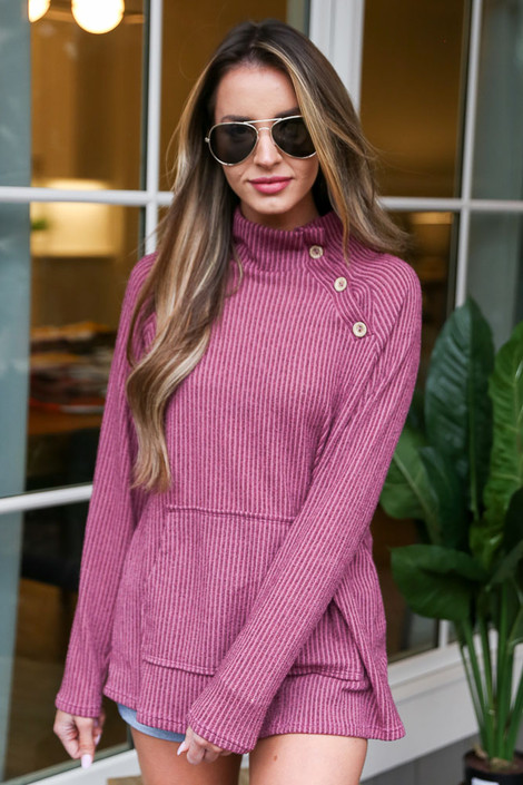 Dress Up model wearing the Ribbed Asymmetrical Button Up Pullover