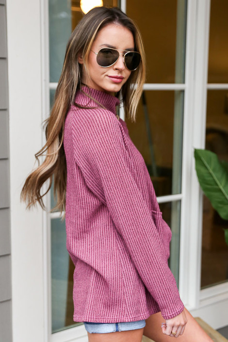 Ribbed Asymmetrical Button Up Pullover Side View