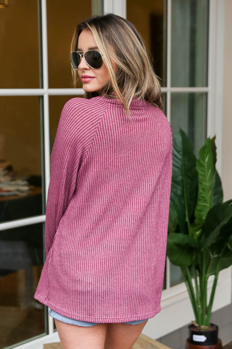 Ribbed Asymmetrical Button Up Pullover Back View