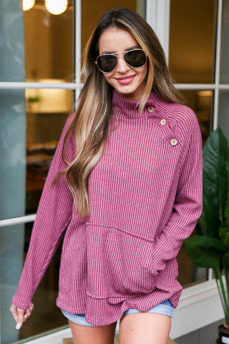 Mauve - Ribbed Asymmetrical Button Up Pullover