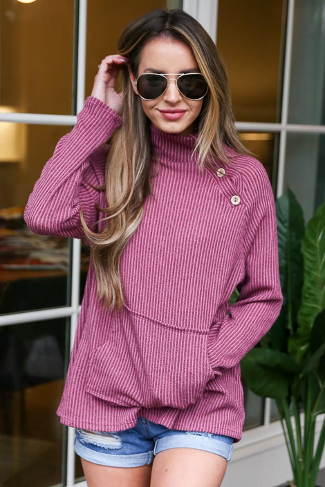 Dress Up model wearing the Ribbed Asymmetrical Button Up Pullover Front View