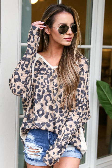 Taupe - Leopard Waffle Knit Oversized Top