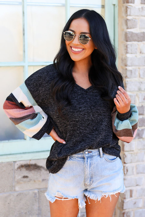 Black - Statement Sleeve Brushed Knit Top