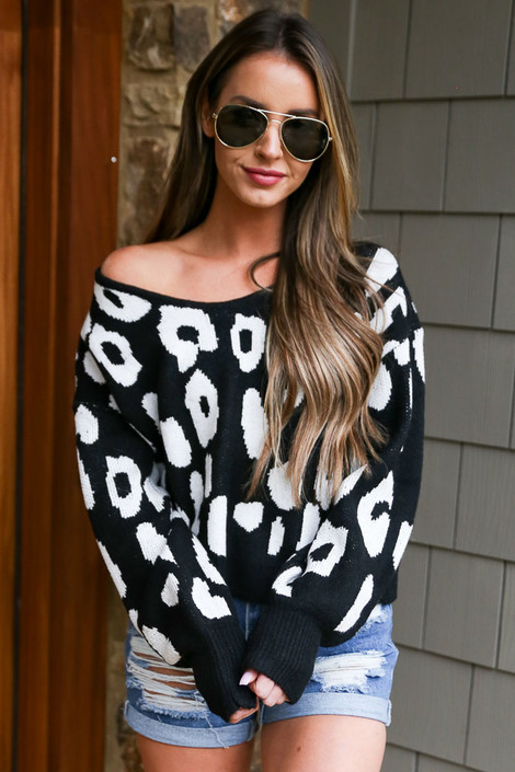 Black - Leopard Cropped Luxe Knit Top from Dress Up