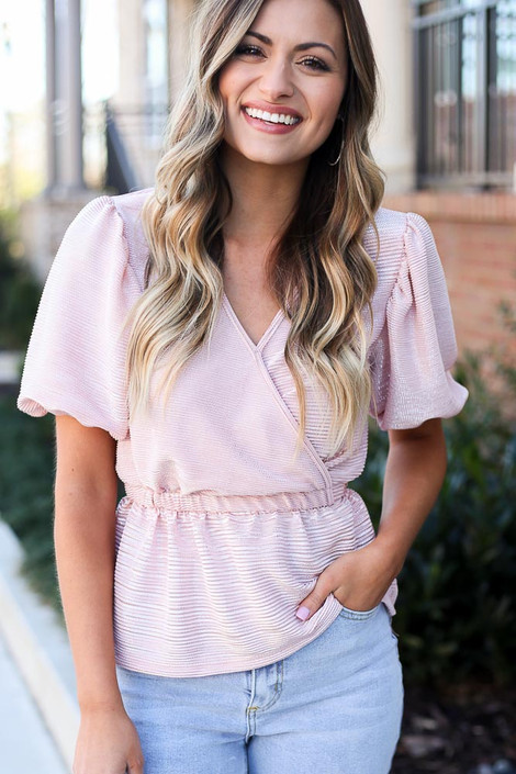 Blush - Puff Sleeve Metallic Blouse
