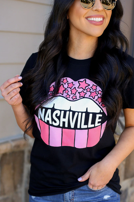 Model wearing the Nashville Graphic Tee Close Up