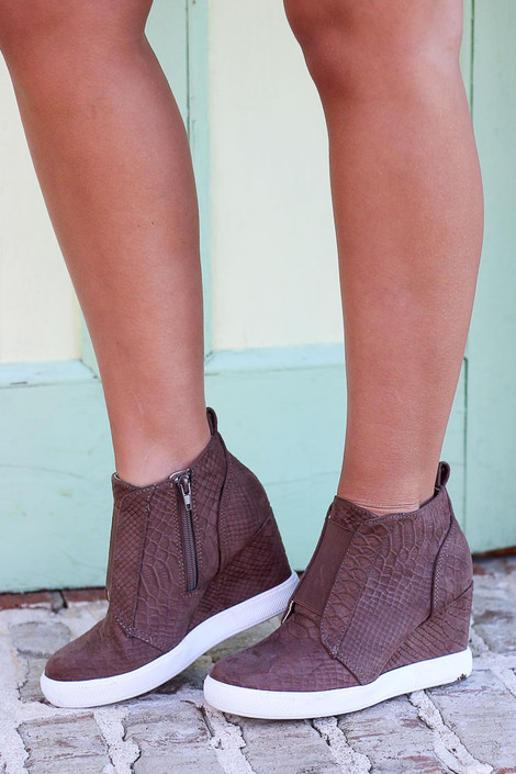Khaki - Microsuede Wedge Sneakers