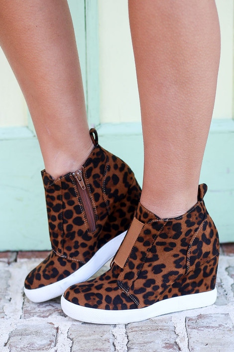 Leopard - Microsuede Wedge Sneakers from Dress Up